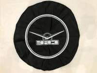 Чехол запасного колеса (винил/кожа, чёрный с резинкой)